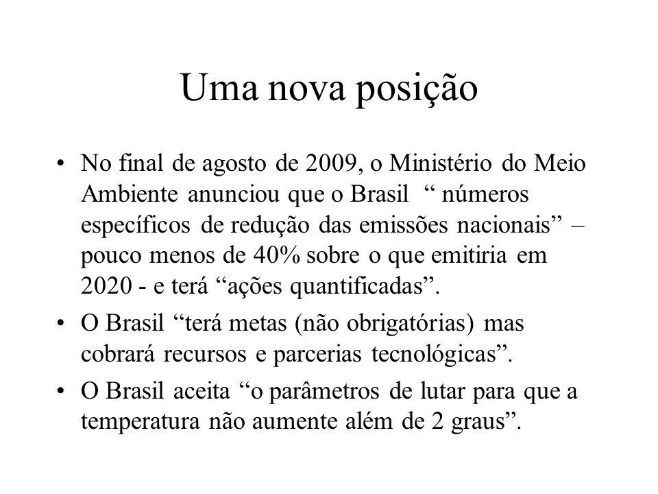 Uma nova posição No final de agosto de 2009, o Ministério do Meio Ambiente anunciou que o Brasil números específicos de redução das emissões nacionais – pouco menos de 40% sobre o que emitiria em 2020 - e terá ações quantificadas.