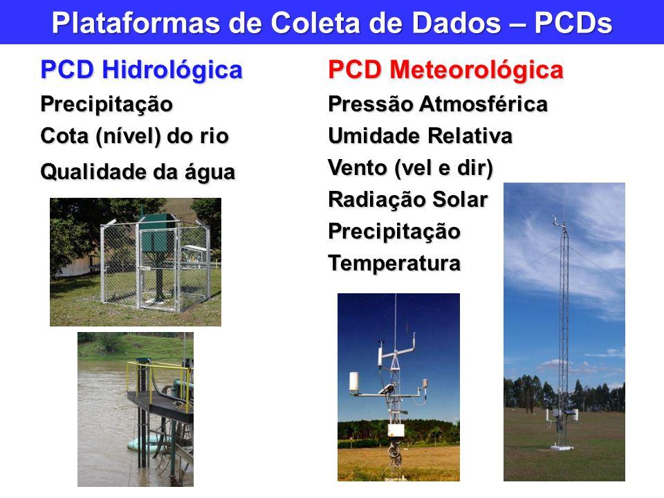 Plataformas de Coleta de Dados – PCDs PCD Hidrológica Precipitação Cota (nível) do rio Qualidade da água PCD Meteorológica Pressão Atmosférica Umidade