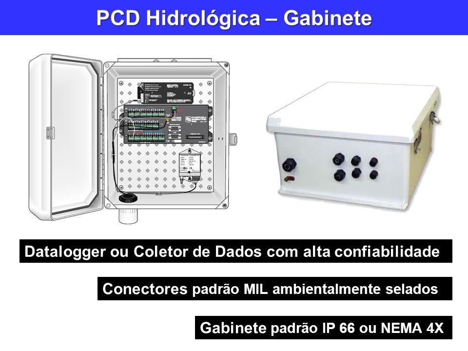 PCD Hidrológica – Gabinete Gabinete padrão IP 66 ou NEMA 4X Conectores padrão MIL ambientalmente selados Datalogger ou Coletor de Dados com alta confi