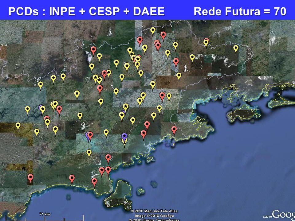 PCDs : INPE + CESP + DAEE Rede Futura = 70
