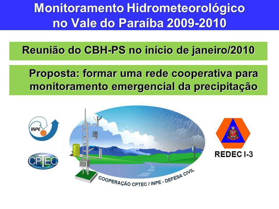 Reunião do CBH-PS no início de janeiro/2010 Monitoramento Hidrometeorológico no Vale do Paraíba 2009-2010 Proposta: formar uma rede cooperativa para m
