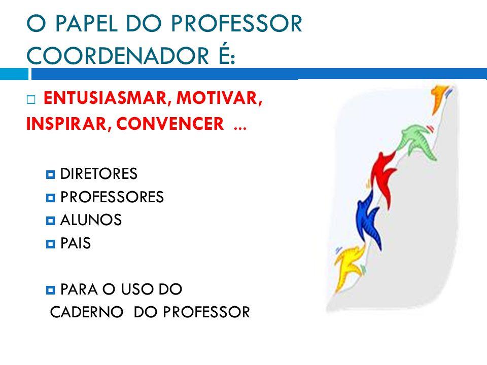 O PAPEL DO PROFESSOR COORDENADOR É: ENTUSIASMAR, MOTIVAR, INSPIRAR, CONVENCER... DIRETORES PROFESSORES ALUNOS PAIS PARA O USO DO CADERNO DO PROFESSOR