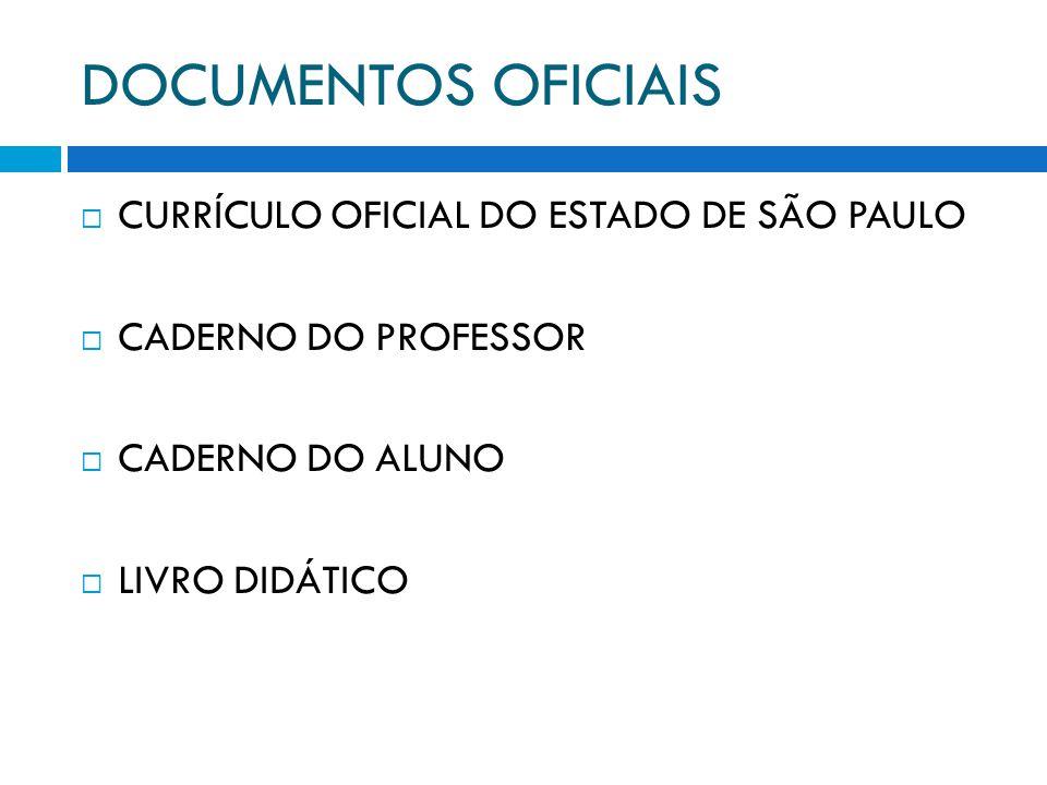 DOCUMENTOS OFICIAIS CURRÍCULO OFICIAL DO ESTADO DE SÃO PAULO CADERNO DO PROFESSOR CADERNO DO ALUNO LIVRO DIDÁTICO