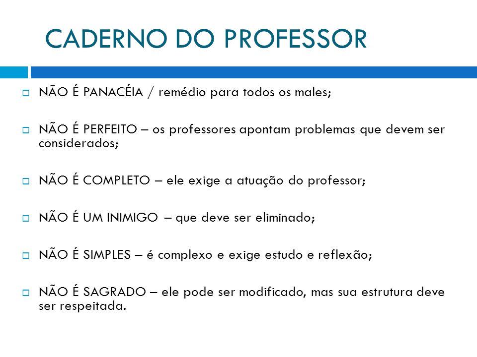 CADERNO DO PROFESSOR NÃO É PANACÉIA / remédio para todos os males; NÃO É PERFEITO – os professores apontam problemas que devem ser considerados; NÃO É