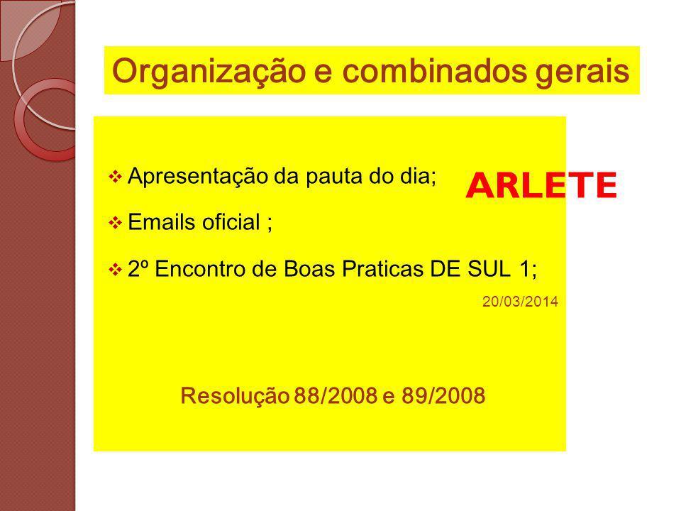 Apresentação da pauta do dia; Emails oficial ; 2º Encontro de Boas Praticas DE SUL 1; 20/03/2014 Resolução 88/2008 e 89/2008 Organização e combinados gerais ARLETE