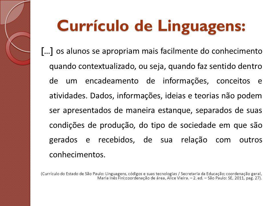 Currículo de Linguagens: [...] os alunos se apropriam mais facilmente do conhecimento quando contextualizado, ou seja, quando faz sentido dentro de um encadeamento de informações, conceitos e atividades.