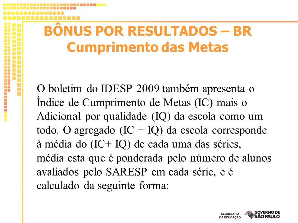 O boletim do IDESP 2009 também apresenta o Índice de Cumprimento de Metas (IC) mais o Adicional por qualidade (IQ) da escola como um todo. O agregado