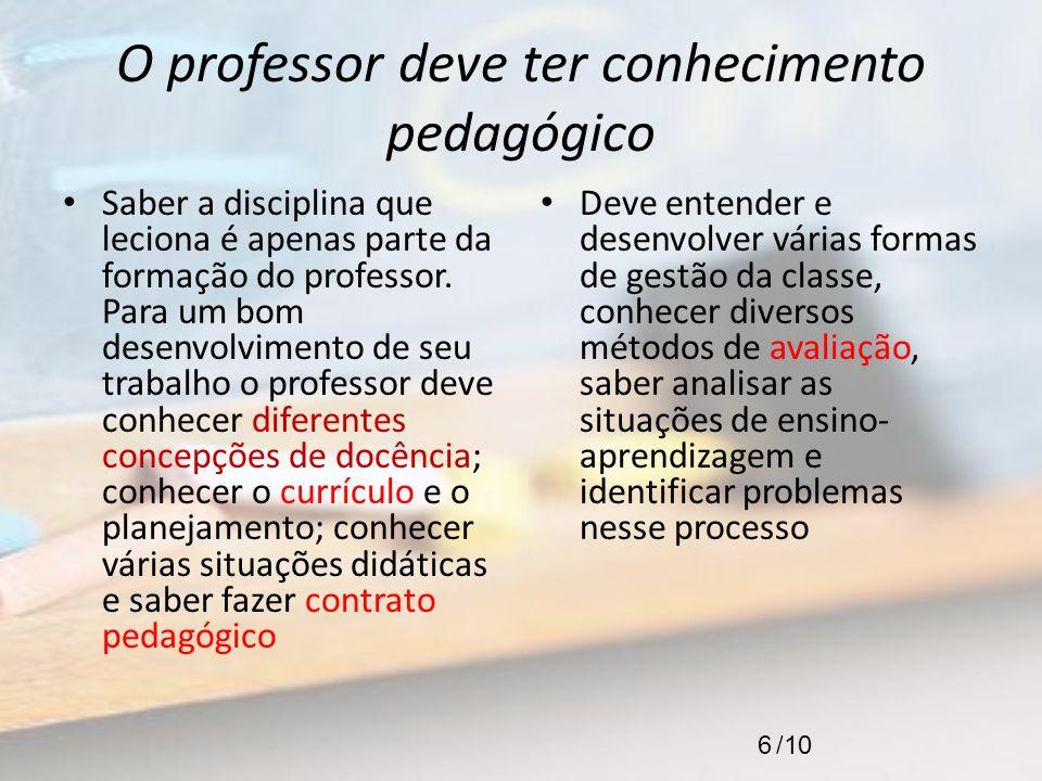 O professor deve ter conhecimento pedagógico Saber a disciplina que leciona é apenas parte da formação do professor. Para um bom desenvolvimento de se
