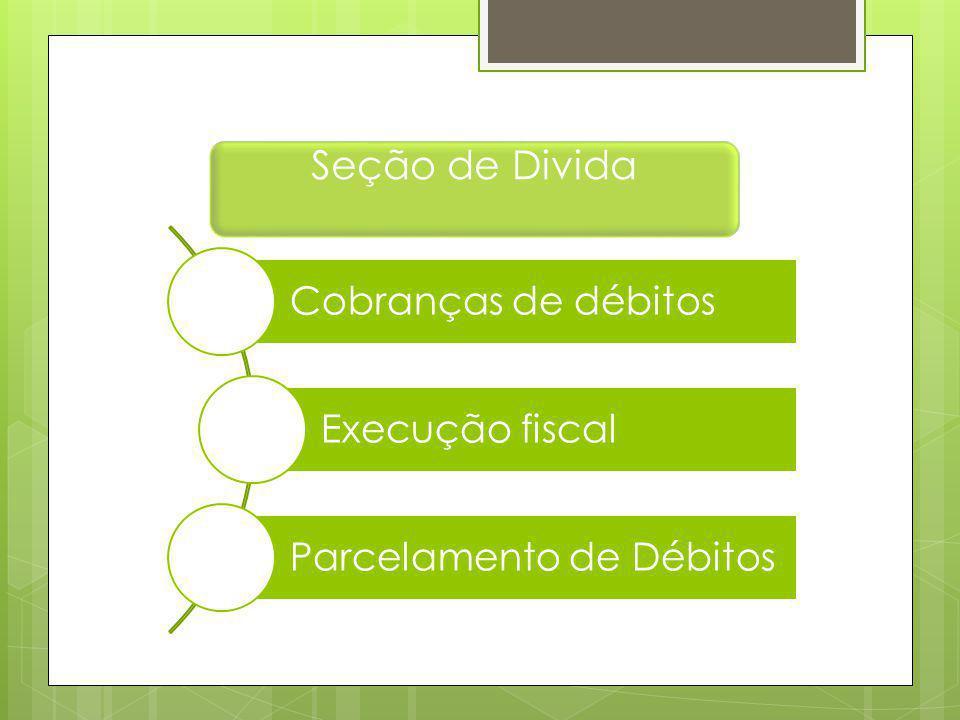 Seção de Divida Cobranças de débitos Execução fiscal Parcelamento de Débitos