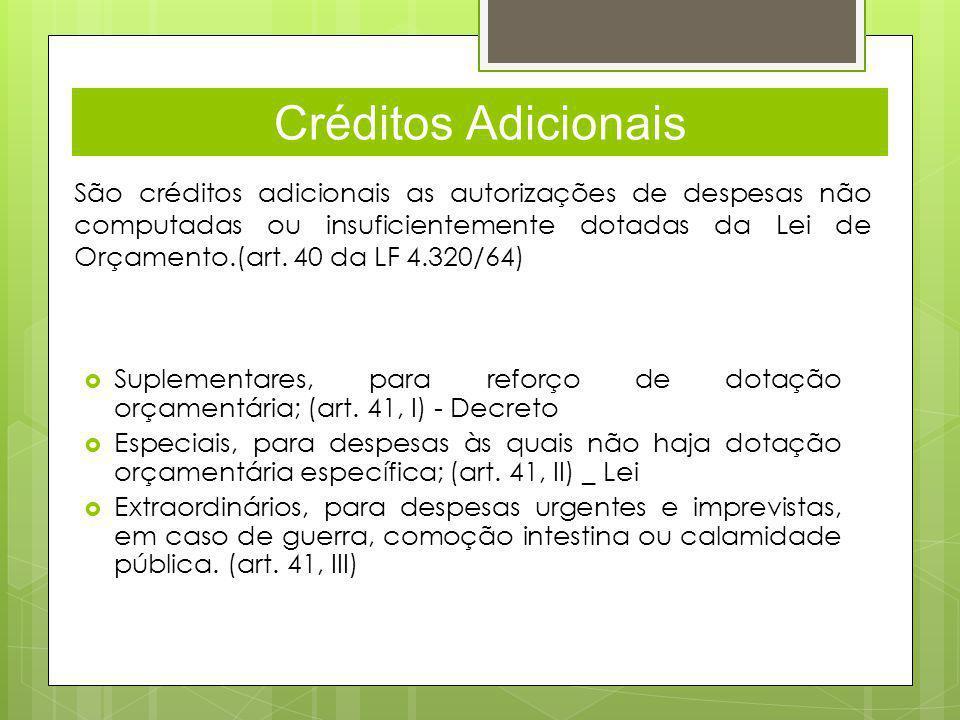 Créditos Adicionais São créditos adicionais as autorizações de despesas não computadas ou insuficientemente dotadas da Lei de Orçamento.(art.