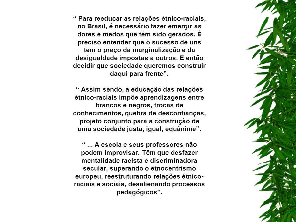 História e Cultura Afro-Brasileira e Africana – Determinações: É importante destacar que não se trata de mudar um foco etnocêntrico marcadamente de raiz européia por um africano, mas de ampliar o foco dos currículos escolares para a diversidade cultural, racial, social e econômica brasileira.