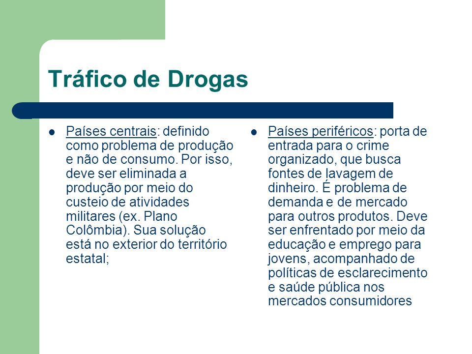 Tráfico de Drogas Países centrais: definido como problema de produção e não de consumo. Por isso, deve ser eliminada a produção por meio do custeio de