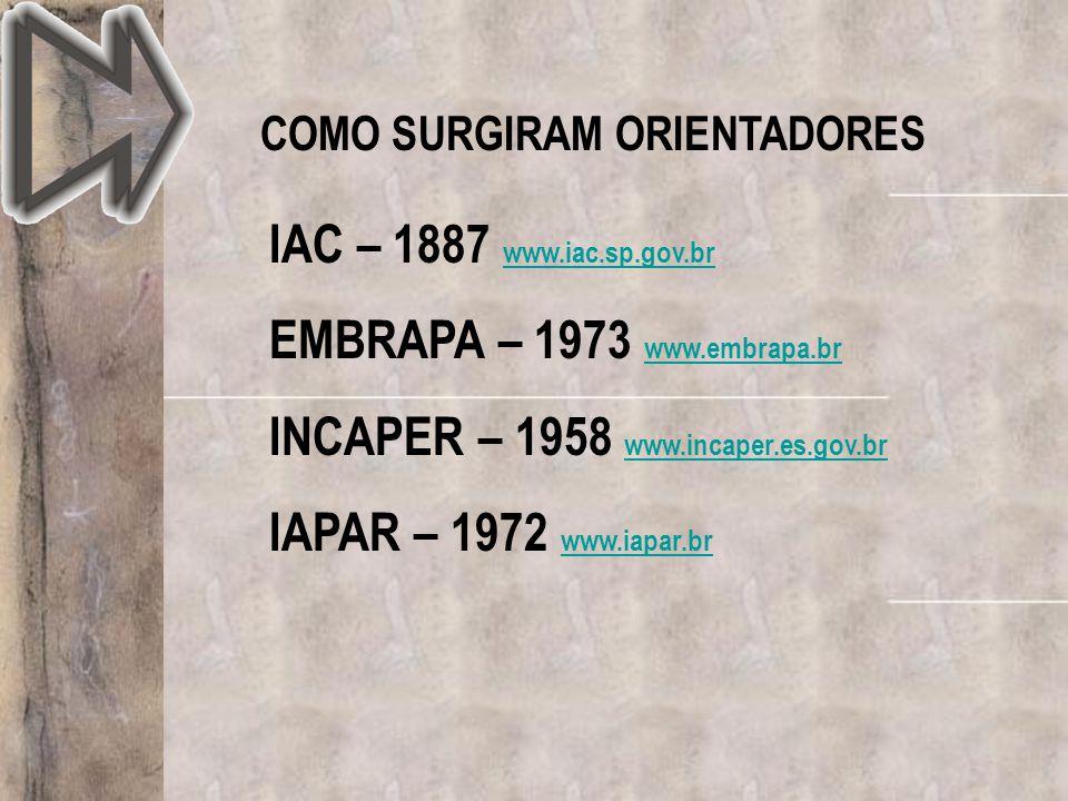 COMO SURGIRAM ORIENTADORES IAC – 1887 www.iac.sp.gov.br www.iac.sp.gov.br EMBRAPA – 1973 www.embrapa.br www.embrapa.br INCAPER – 1958 www.incaper.es.g