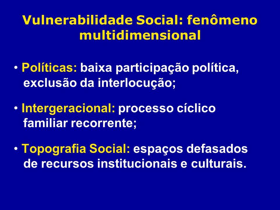 Vulnerabilidade Social: fenômeno multidimensional Políticas: baixa participação política, exclusão da interlocução; Intergeracional: processo cíclico