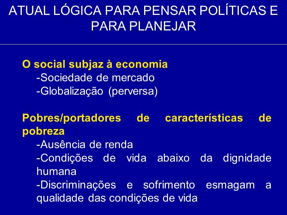 ATUAL LÓGICA PARA PENSAR POLÍTICAS E PARA PLANEJAR O social subjaz à economia -Sociedade de mercado -Globalização (perversa) Pobres/portadores de cara