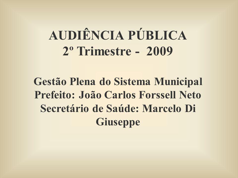 AUDIÊNCIA PÚBLICA 2º Trimestre - 2009 Gestão Plena do Sistema Municipal Prefeito: João Carlos Forssell Neto Secretário de Saúde: Marcelo Di Giuseppe
