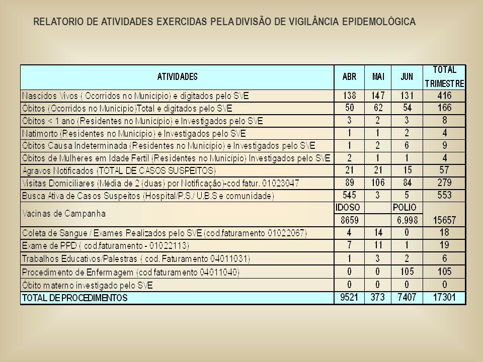 RELATORIO DE ATIVIDADES EXERCIDAS PELA DIVISÃO DE VIGILÂNCIA EPIDEMOLÓGICA
