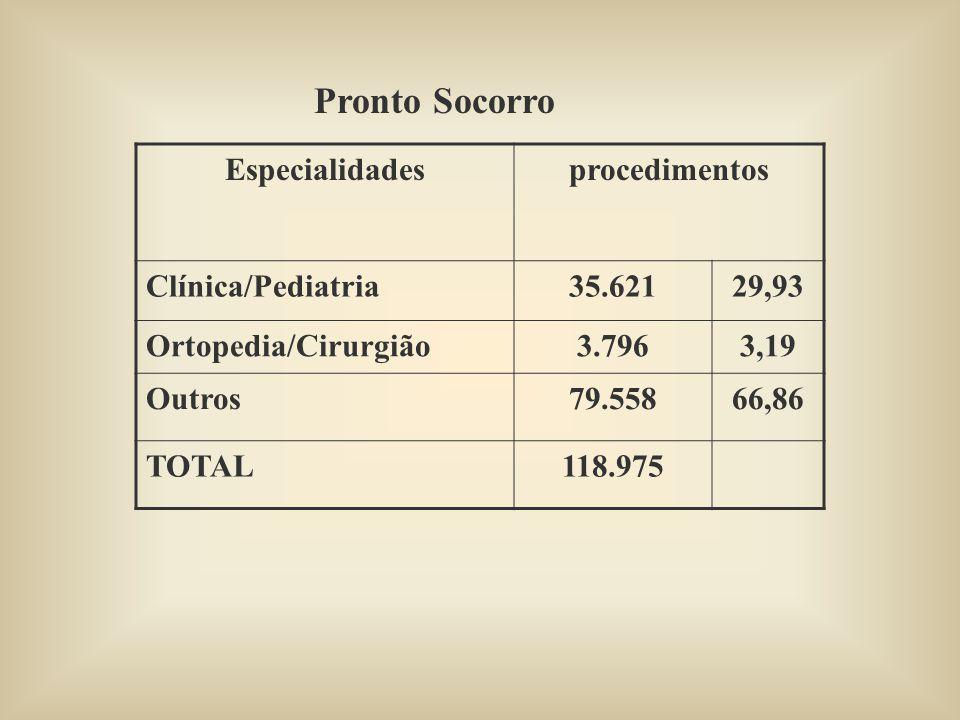 Especialidadesprocedimentos Clínica/Pediatria35.62129,93 Ortopedia/Cirurgião3.7963,19 Outros79.55866,86 TOTAL118.975 Pronto Socorro
