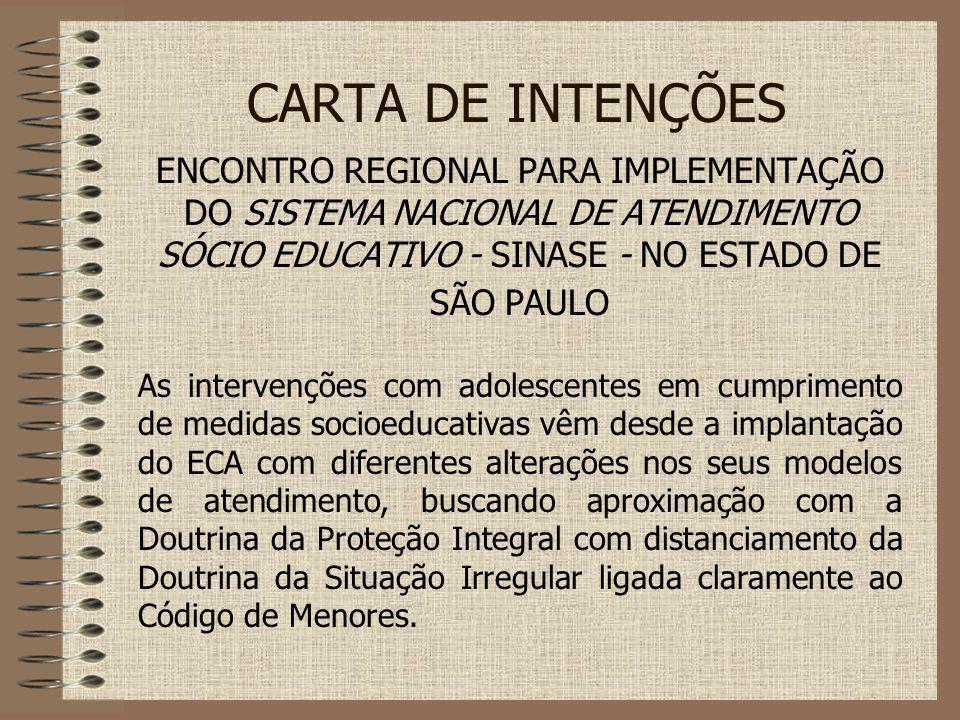 CARTA DE INTENÇÕES ENCONTRO REGIONAL PARA IMPLEMENTAÇÃO DO SISTEMA NACIONAL DE ATENDIMENTO SÓCIO EDUCATIVO - SINASE - NO ESTADO DE SÃO PAULO As interv