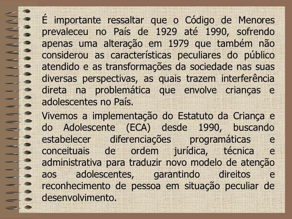É importante ressaltar que o Código de Menores prevaleceu no País de 1929 até 1990, sofrendo apenas uma alteração em 1979 que também não considerou as