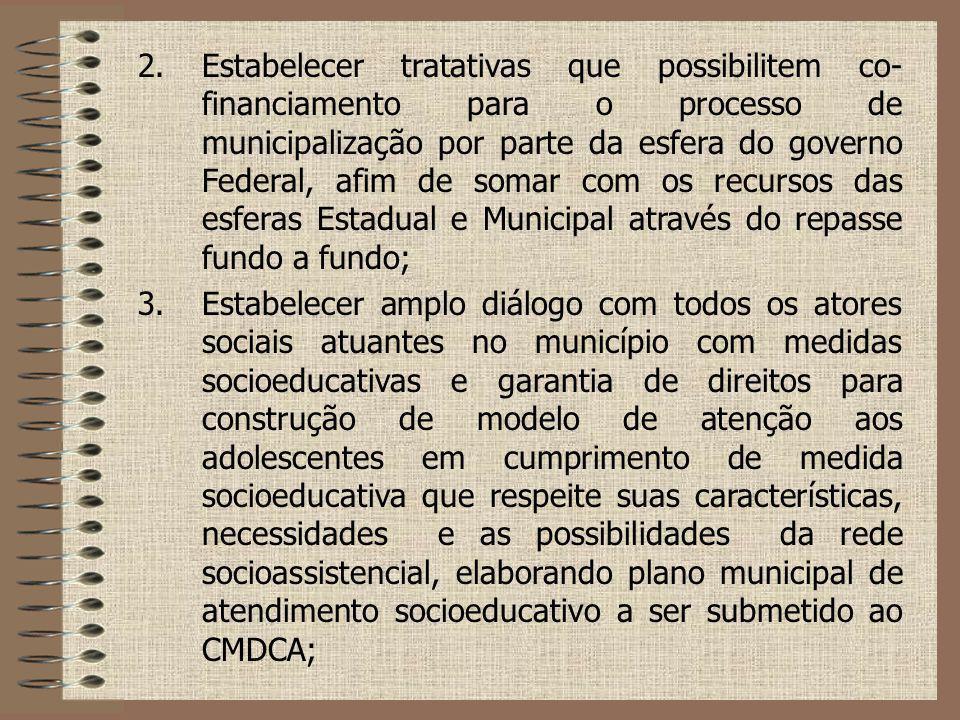 2.Estabelecer tratativas que possibilitem co- financiamento para o processo de municipalização por parte da esfera do governo Federal, afim de somar c