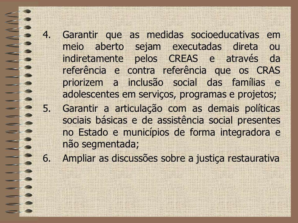 4.Garantir que as medidas socioeducativas em meio aberto sejam executadas direta ou indiretamente pelos CREAS e através da referência e contra referên