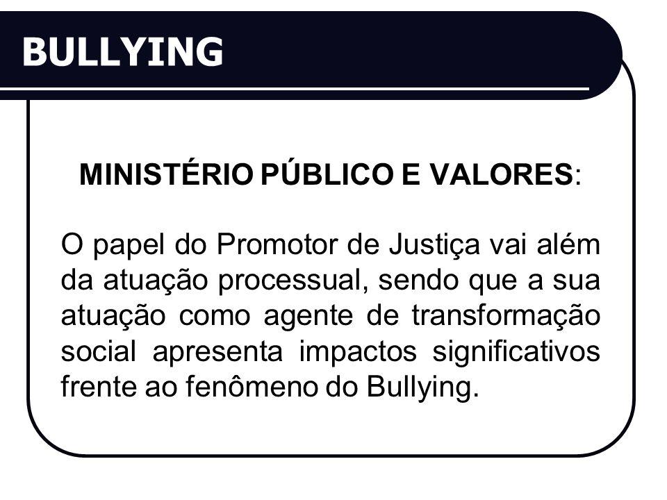 BULLYING MINISTÉRIO PÚBLICO E VALORES: O papel do Promotor de Justiça vai além da atuação processual, sendo que a sua atuação como agente de transformação social apresenta impactos significativos frente ao fenômeno do Bullying.