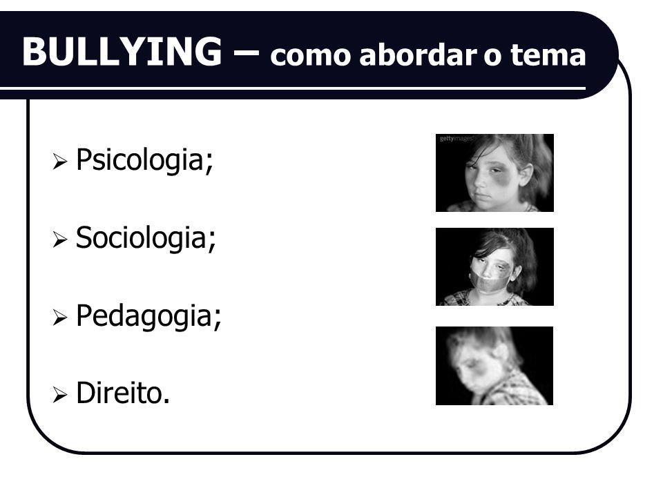 BULLYING – como abordar o tema Psicologia; Sociologia; Pedagogia; Direito.