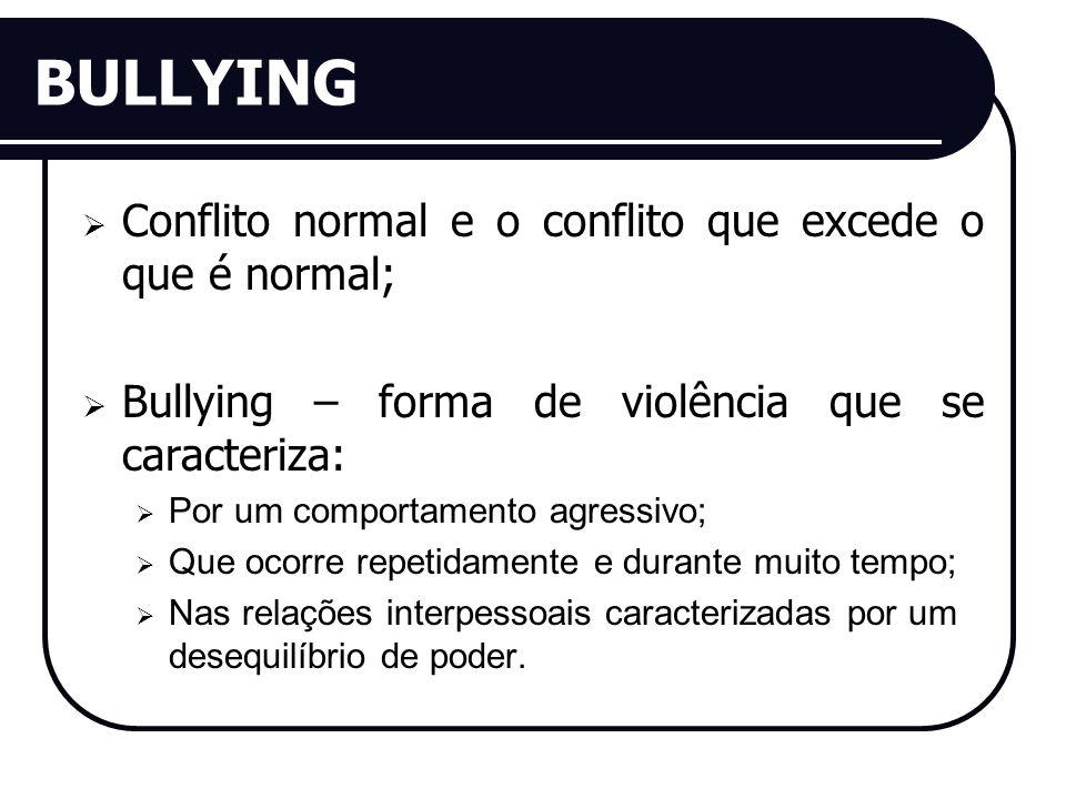 BULLYING Conflito normal e o conflito que excede o que é normal; Bullying – forma de violência que se caracteriza: Por um comportamento agressivo; Que ocorre repetidamente e durante muito tempo; Nas relações interpessoais caracterizadas por um desequilíbrio de poder.