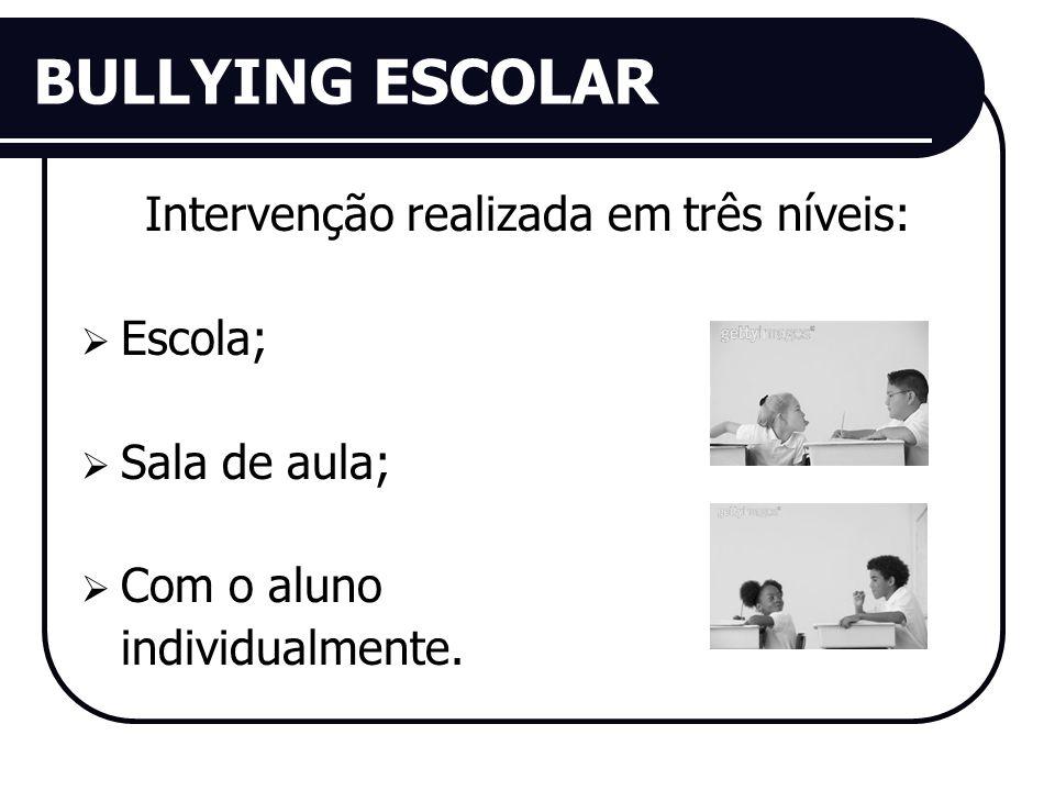 BULLYING ESCOLAR Intervenção realizada em três níveis: Escola; Sala de aula; Com o aluno individualmente.