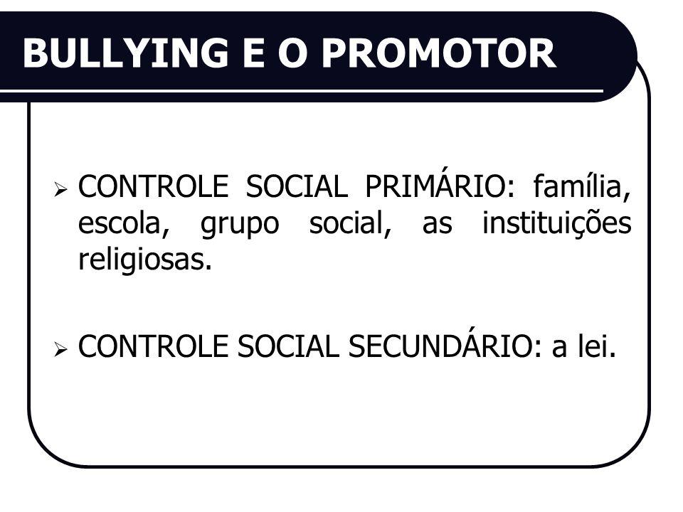 BULLYING E O PROMOTOR CONTROLE SOCIAL PRIMÁRIO: família, escola, grupo social, as instituições religiosas. CONTROLE SOCIAL SECUNDÁRIO: a lei.