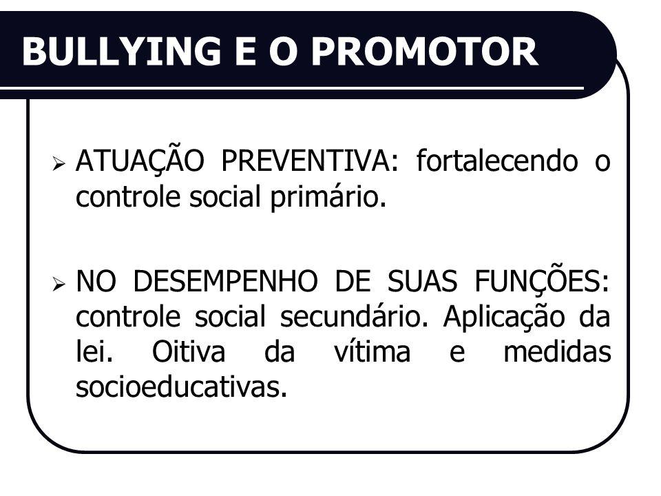BULLYING E O PROMOTOR ATUAÇÃO PREVENTIVA: fortalecendo o controle social primário. NO DESEMPENHO DE SUAS FUNÇÕES: controle social secundário. Aplicaçã