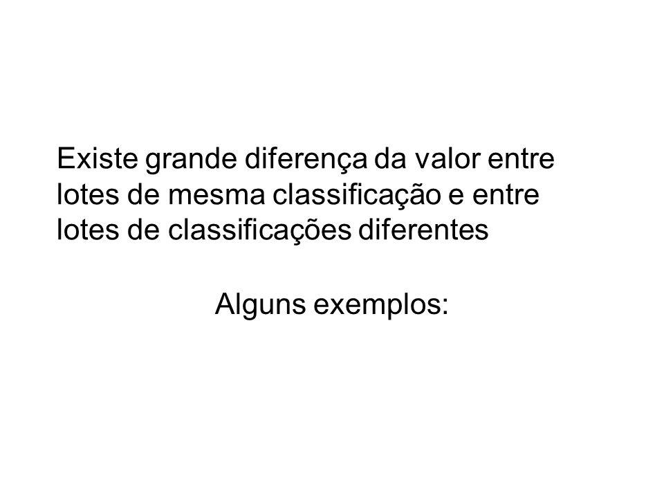 Existe grande diferença da valor entre lotes de mesma classificação e entre lotes de classificações diferentes Alguns exemplos: