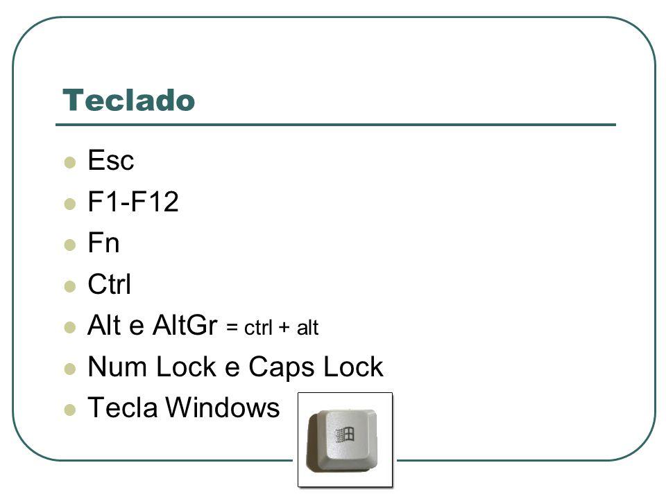 Teclado Esc F1-F12 Fn Ctrl Alt e AltGr = ctrl + alt Num Lock e Caps Lock Tecla Windows