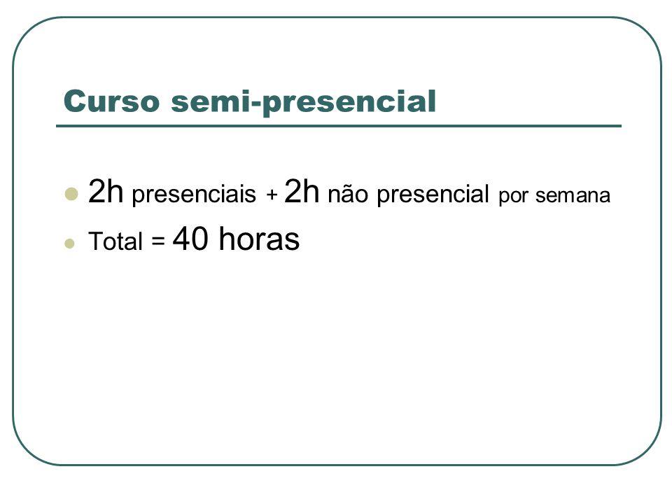 Curso semi-presencial 2h presenciais + 2h não presencial por semana Total = 40 horas