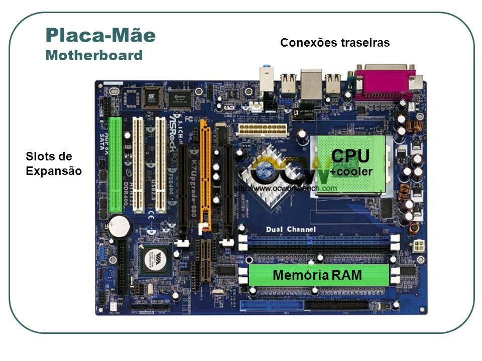 Slots de Expansão Memória RAM CPU +cooler Placa-Mãe Motherboard Conexões traseiras