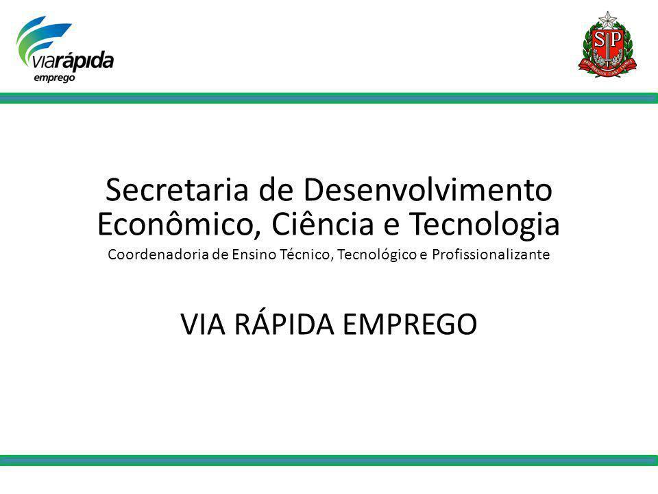 Secretaria de Desenvolvimento Econômico, Ciência e Tecnologia Coordenadoria de Ensino Técnico, Tecnológico e Profissionalizante VIA RÁPIDA EMPREGO