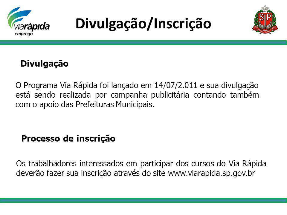 Divulgação O Programa Via Rápida foi lançado em 14/07/2.011 e sua divulgação está sendo realizada por campanha publicitária contando também com o apoi