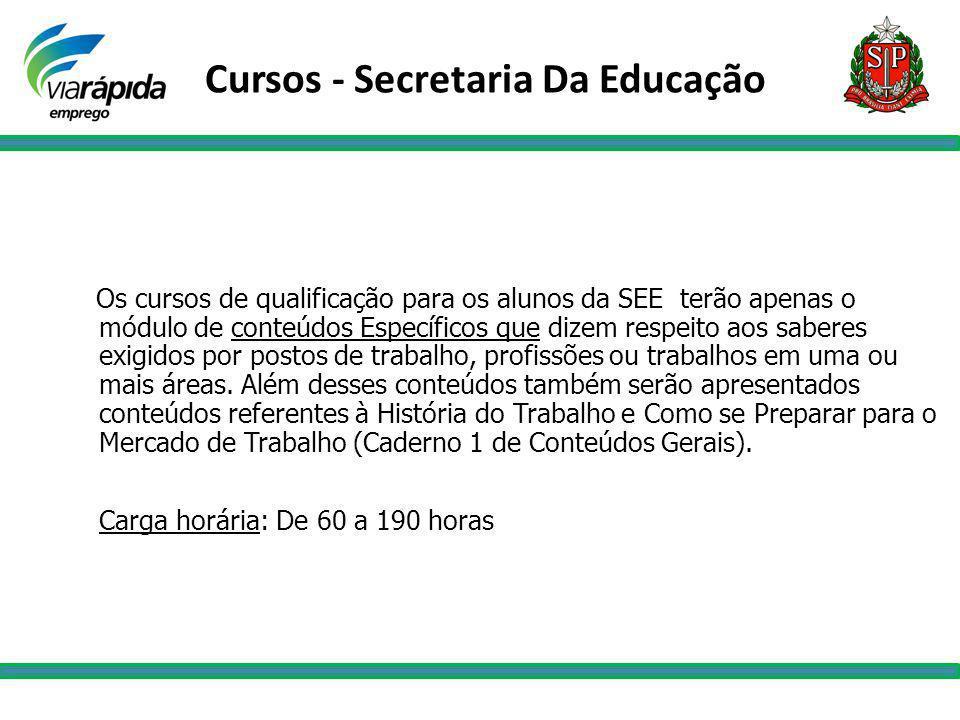 Cursos - Secretaria Da Educação Os cursos de qualificação para os alunos da SEE terão apenas o módulo de conteúdos Específicos que dizem respeito aos