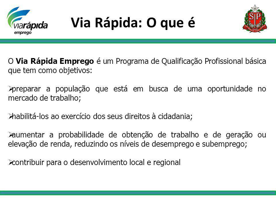 Via Rápida: O que é O Via Rápida Emprego é um Programa de Qualificação Profissional básica que tem como objetivos: preparar a população que está em bu