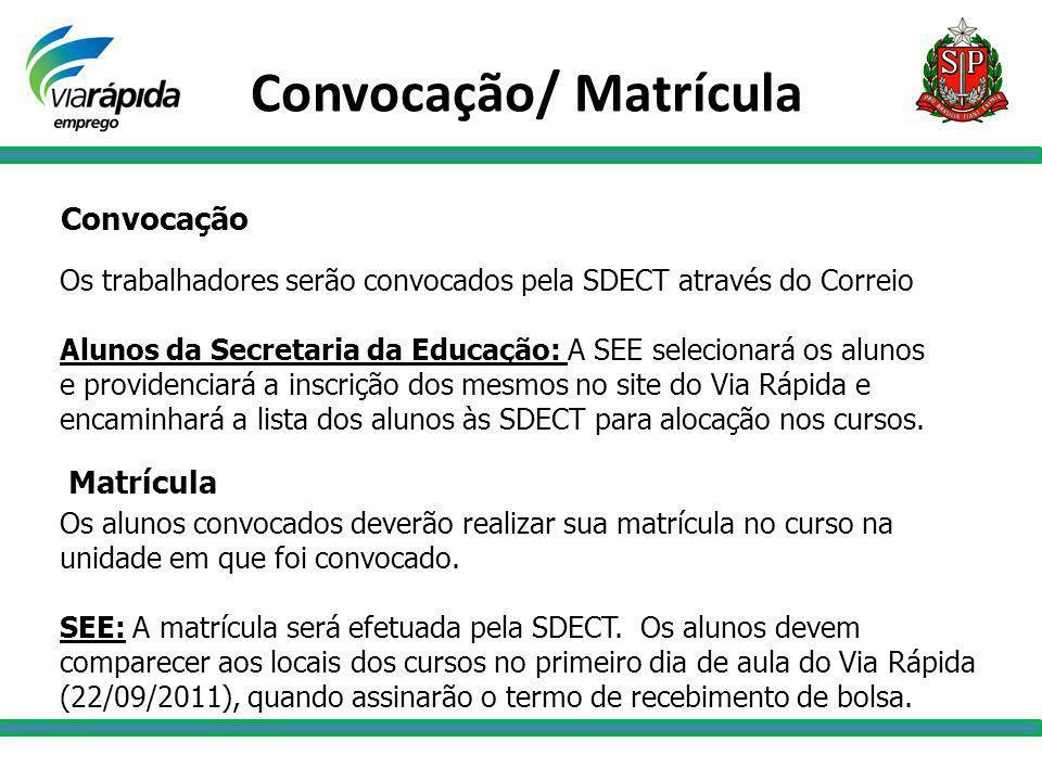 Convocação Os trabalhadores serão convocados pela SDECT através do Correio Alunos da Secretaria da Educação: A SEE selecionará os alunos e providencia