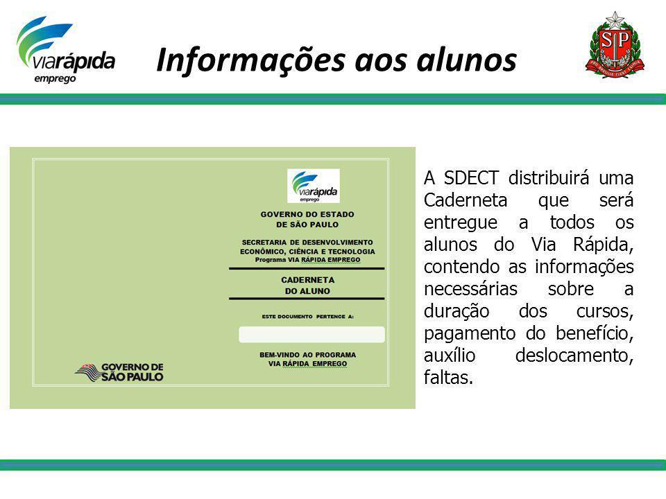 A SDECT distribuirá uma Caderneta que será entregue a todos os alunos do Via Rápida, contendo as informações necessárias sobre a duração dos cursos, p