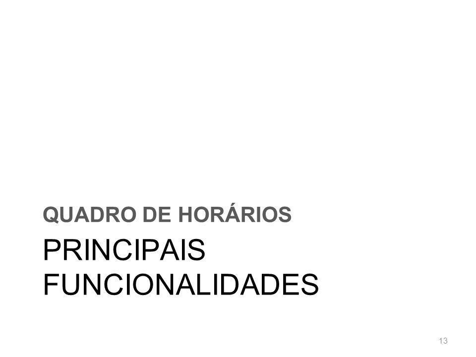 PRINCIPAIS FUNCIONALIDADES QUADRO DE HORÁRIOS 13