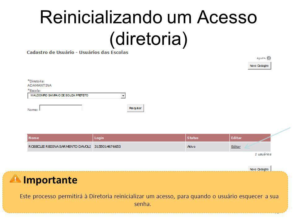 Reinicializando um Acesso (diretoria) 15 Importante Este processo permitirá à Diretoria reinicializar um acesso, para quando o usuário esquecer a sua senha.