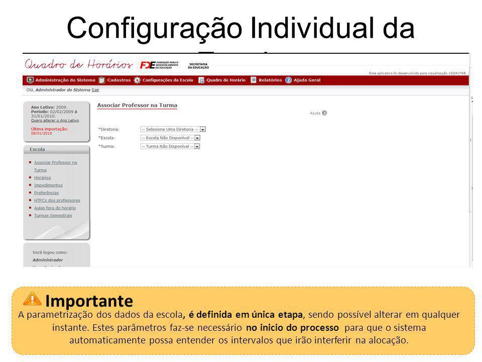 Configuração Individual da Escola 18 Importante A parametrização dos dados da escola, é definida em única etapa, sendo possível alterar em qualquer instante.