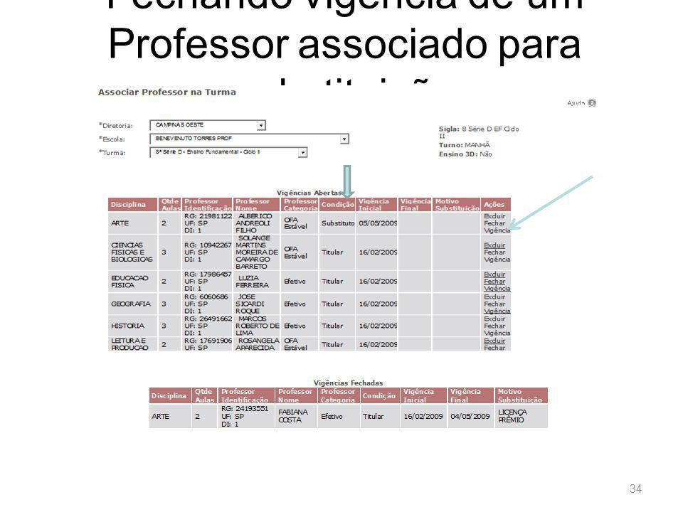 Fechando vigência de um Professor associado para substituição 34