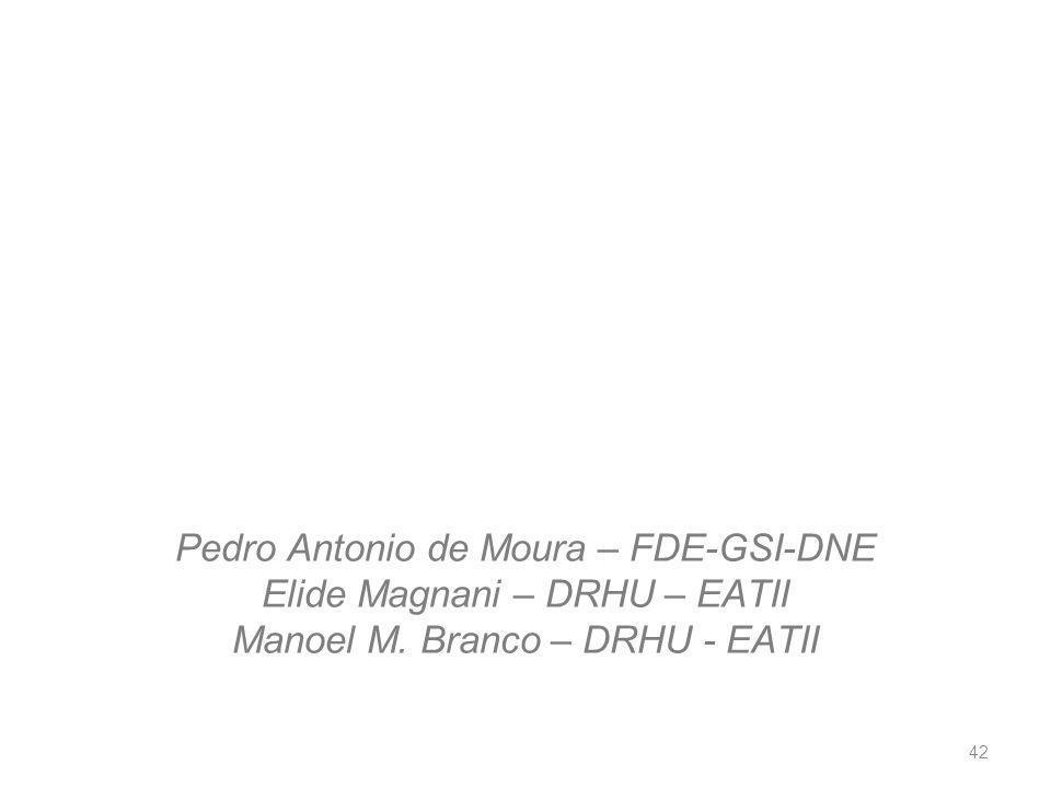 Pedro Antonio de Moura – FDE-GSI-DNE Elide Magnani – DRHU – EATII Manoel M.