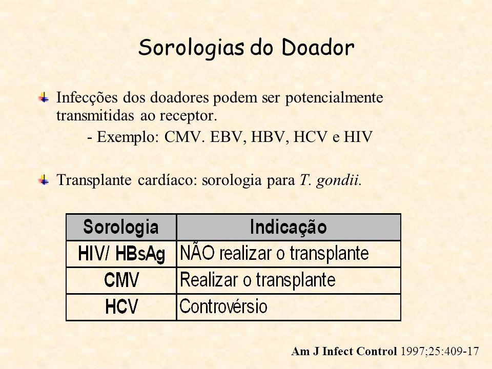Sorologias do Doador Infecções dos doadores podem ser potencialmente transmitidas ao receptor. - Exemplo: CMV. EBV, HBV, HCV e HIV Transplante cardíac