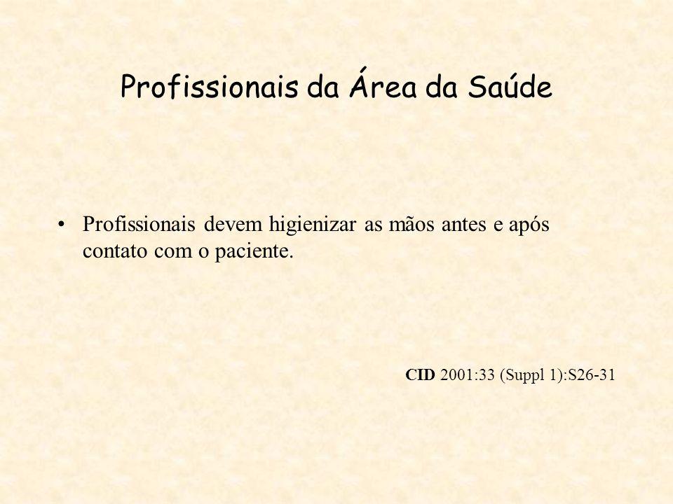 Profissionais da Área da Saúde Profissionais devem higienizar as mãos antes e após contato com o paciente. CID 2001:33 (Suppl 1):S26-31