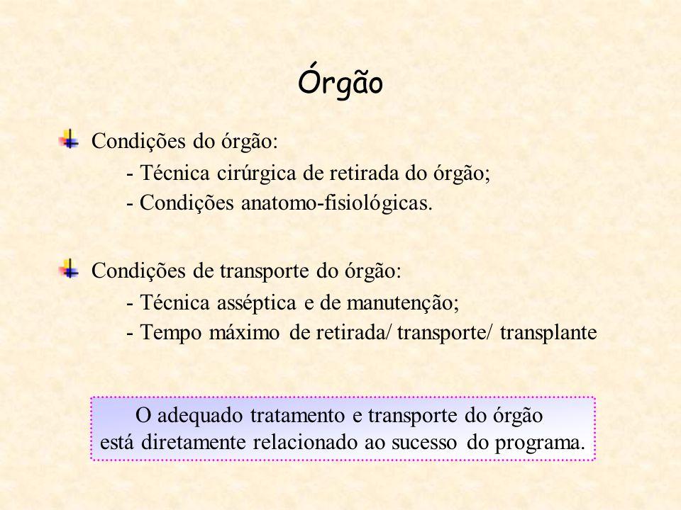Órgão Condições do órgão: - Técnica cirúrgica de retirada do órgão; - Condições anatomo-fisiológicas. Condições de transporte do órgão: - Técnica assé